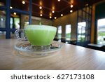 Green Tea Milk Cup Background.