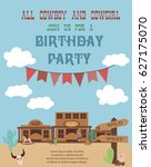 cowboy party invitation card | Shutterstock .eps vector #627175070