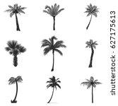 vector set of silhouettes of... | Shutterstock .eps vector #627175613