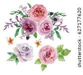 painted watercolor set of... | Shutterstock . vector #627177620