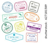 different rubber stamps or visa ... | Shutterstock .eps vector #627181589