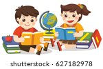 two small kids holding open... | Shutterstock .eps vector #627182978
