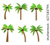 set of palm tree silhouettes...