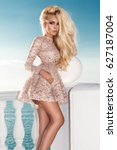sexy blonde model wearing a...   Shutterstock . vector #627187004
