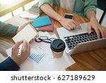 business team analyzing... | Shutterstock . vector #627189629