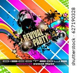 club disco flyer template with... | Shutterstock .eps vector #627190328