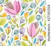vector floral pattern in doodle ... | Shutterstock .eps vector #627191318