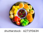 colorful asian delicious... | Shutterstock . vector #627193634