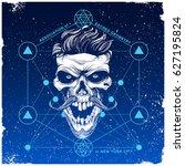 skull illustration with hipster ... | Shutterstock .eps vector #627195824