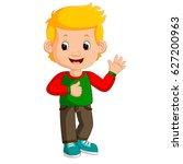 vector illustration of cute boy ... | Shutterstock .eps vector #627200963