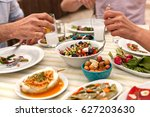 couple  eating lunch with fresh ... | Shutterstock . vector #627203630