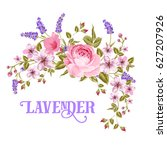 the lavender sign. garland of... | Shutterstock . vector #627207926