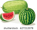 whole watermelons and a slice... | Shutterstock .eps vector #627212078