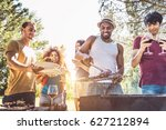 happy multiracial friends... | Shutterstock . vector #627212894