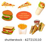 vintage hand drawn fast food ... | Shutterstock .eps vector #627213110