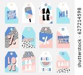retro design summer sale tags... | Shutterstock .eps vector #627214598