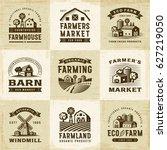 vintage organic farming labels... | Shutterstock .eps vector #627219050