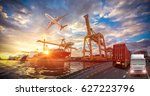 logistics and transportation of ... | Shutterstock . vector #627223796