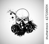 skull with respirator  gas mask ... | Shutterstock .eps vector #627230054
