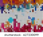 isometric color blocks abstract ...   Shutterstock . vector #627230099
