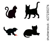 Stock vector set of black cat silhouettes vector 627230276