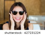 asian woman with wearing sun... | Shutterstock . vector #627231224