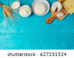 milk and cheese  dairy products ... | Shutterstock . vector #627231524
