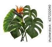 tropical leaves of monstera ... | Shutterstock .eps vector #627232040