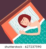 woman sleeping on her side... | Shutterstock .eps vector #627237590
