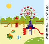 amusement park  and playground...   Shutterstock .eps vector #627241154