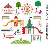 amusement park  and playground... | Shutterstock .eps vector #627241160