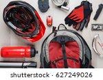 image top of biker accessories | Shutterstock . vector #627249026