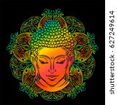 buddha head with paisley... | Shutterstock .eps vector #627249614