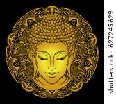 buddha head with paisley... | Shutterstock .eps vector #627249629