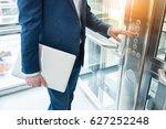 men finger presses the elevator ... | Shutterstock . vector #627252248