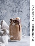 chocolate coffee milkshake with ... | Shutterstock . vector #627257924