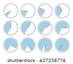 blue clock   time increments... | Shutterstock .eps vector #627258776