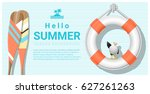 hello summer background with... | Shutterstock .eps vector #627261263