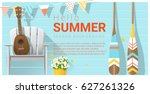 hello summer background with... | Shutterstock .eps vector #627261326