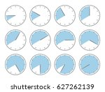 blue clock  fourty minutes or... | Shutterstock .eps vector #627262139