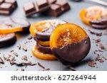 candied orange slices in... | Shutterstock . vector #627264944