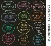 set of hand drawn speech and... | Shutterstock .eps vector #627276923