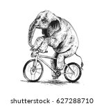 elephant riding bicycle  hand... | Shutterstock .eps vector #627288710