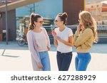 three beautiful young girls are ... | Shutterstock . vector #627288929