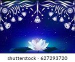 beautiful night landscape. ... | Shutterstock .eps vector #627293720