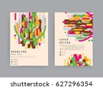 cards in modern abstract style... | Shutterstock .eps vector #627296354