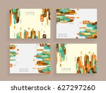 cards in modern abstract style... | Shutterstock .eps vector #627297260