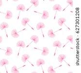 pink dandelions seed floral... | Shutterstock . vector #627301208