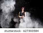 young woman cheering in white...   Shutterstock . vector #627303584