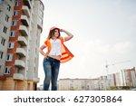engineer builder woman in... | Shutterstock . vector #627305864